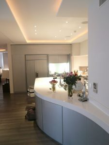 Curved kitchen counter