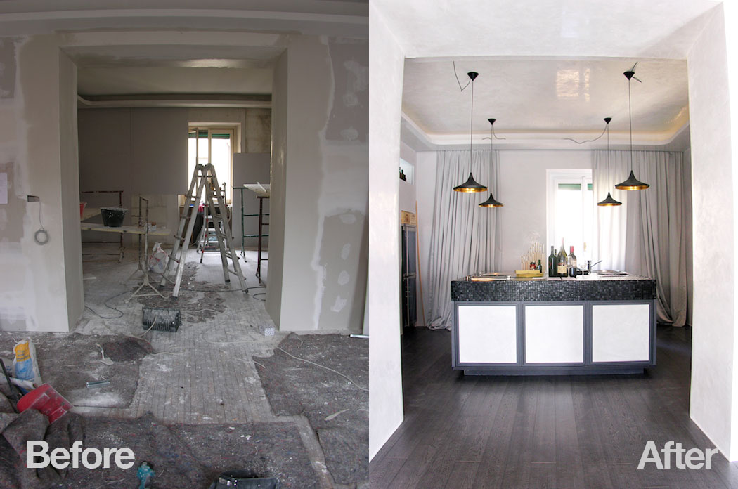 Modern drinks bar in home, before & after interior design project