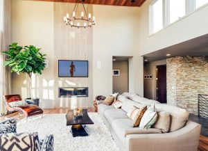 Contemporary living room with modern fireplace and TV