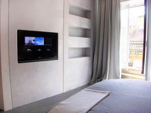 Embedded TV screen in bedroom