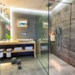 Contemporary bathroom with big walk in shower