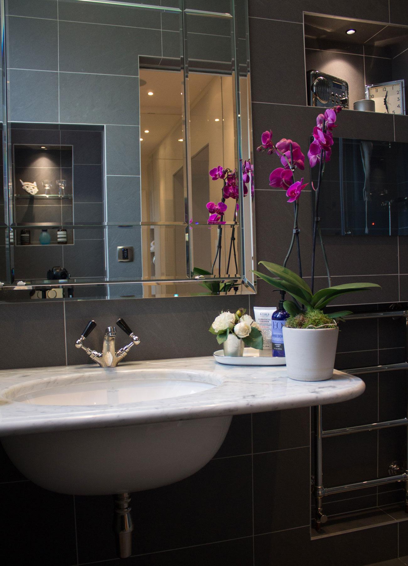 Classic sink in modern bathroom