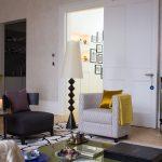 Modern living room with geometric lamp