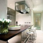 Contemporary kitchen breakfast bar with gas hob