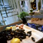 Preparing mussels in a contemporary kitchen