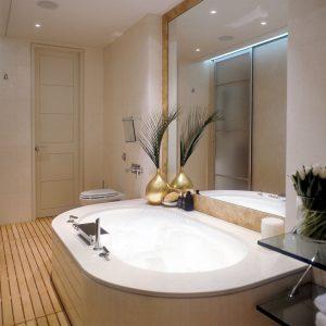 Luxury bathroom with modern bath