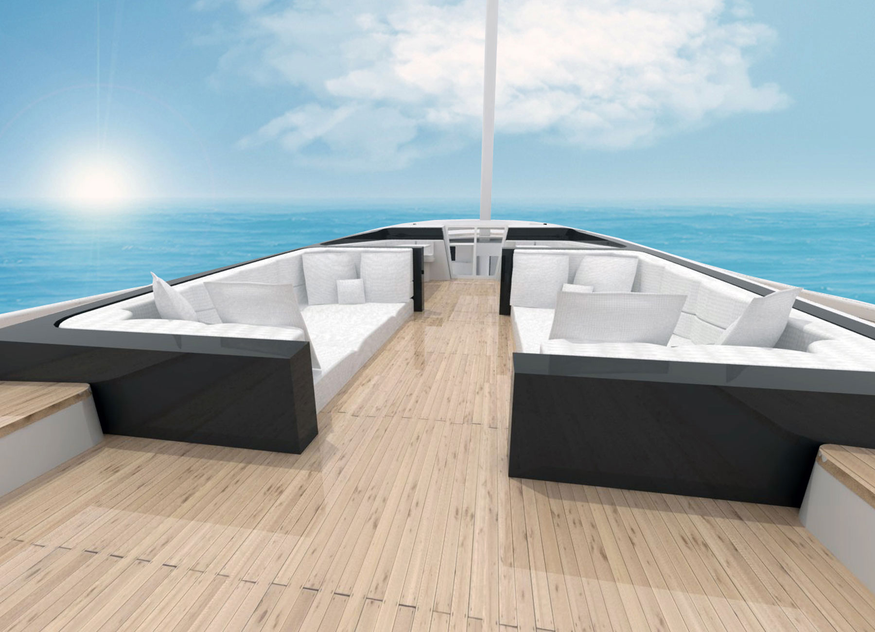 Sailboat deck with sofas