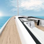Sailboat deck with comfortable sitting area