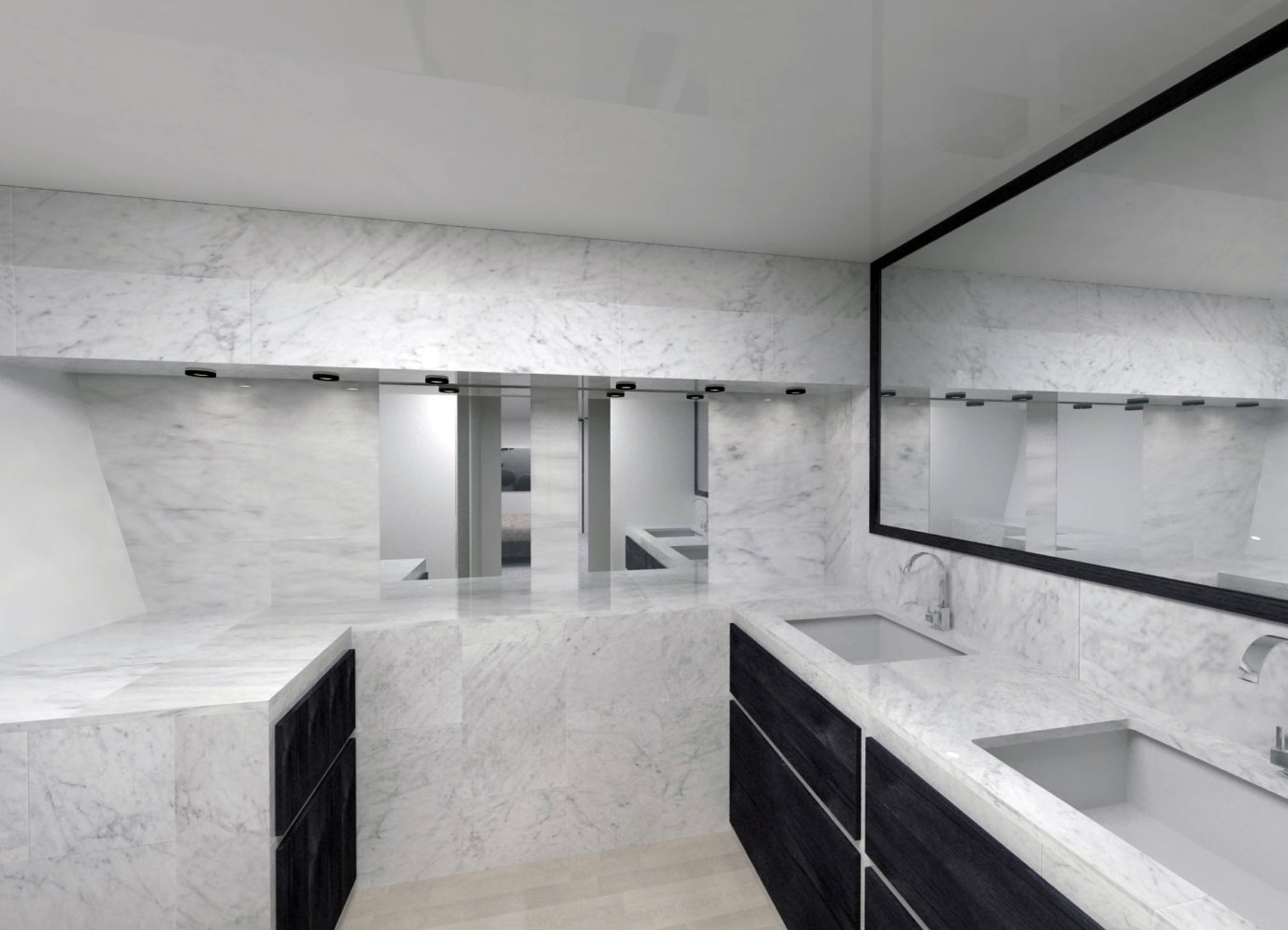 Sailboat mast bathroom with marble walls