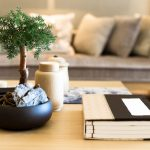 Coffee table with plant and book
