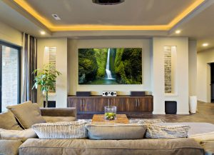 Living room with projector screen and surround sound