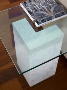 Glass & marble side table