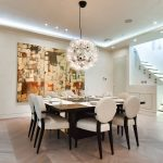 Modern dining room with ceiling lights