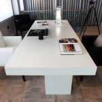 Big modern white desk for office
