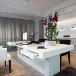 Office space with bespoke modern white desk