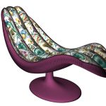 Modern purple chaise longue with flower pattern