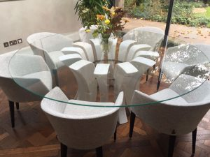 Contemporary glass round table and chairs