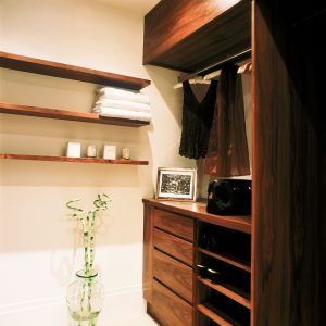 Bespoke wooden walk-in wardrobe