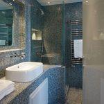 Modern blue mosaic bathroom