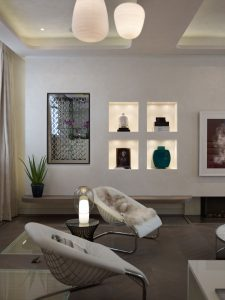 Modern armchairs with alcoves for decoration