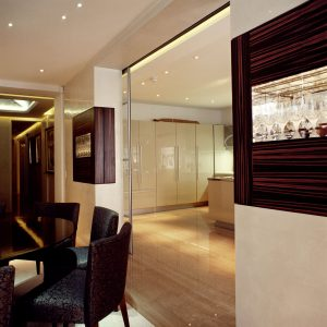 Modern interior with bespoke glass storage space