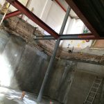 Basement construction showing rolled steel joists