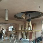 Plastering ceiling and circular skylight