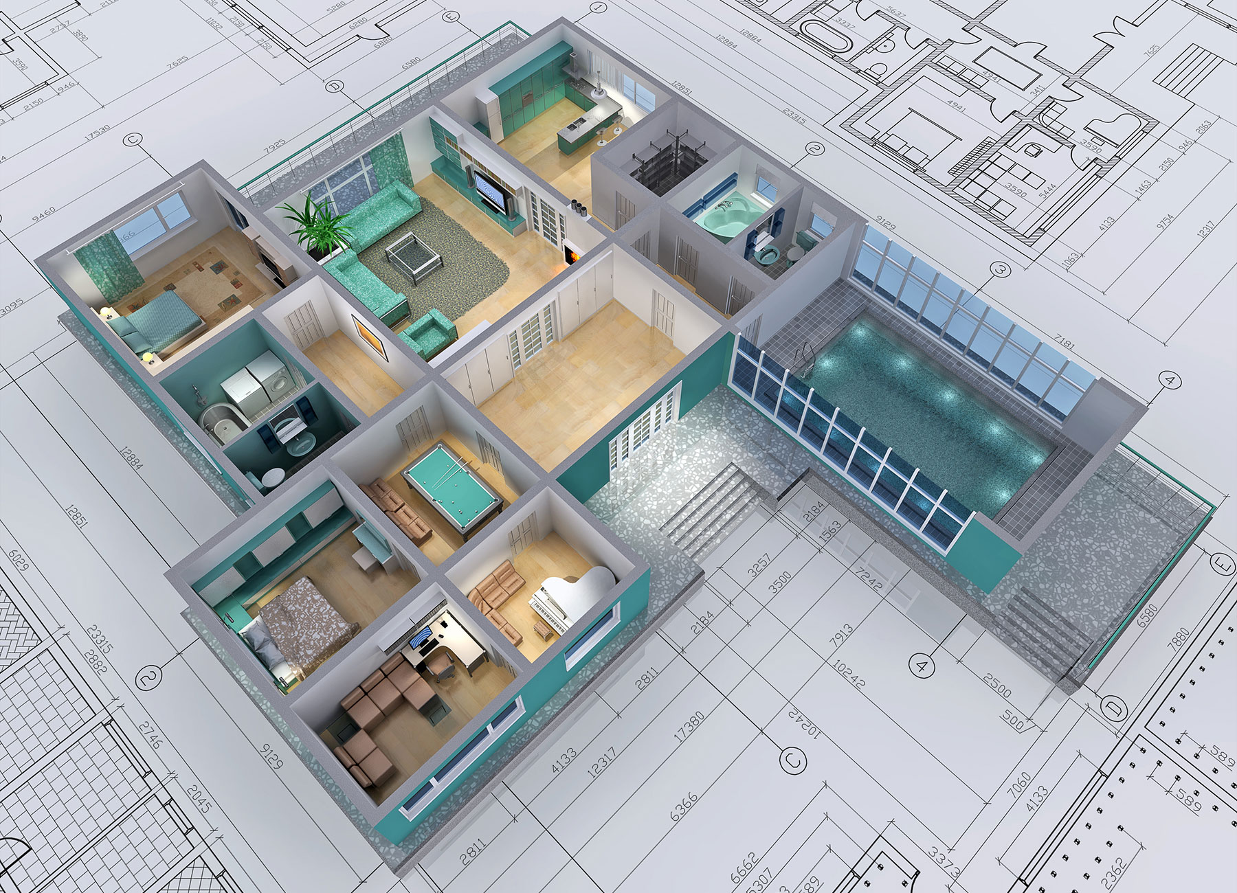 3D floor plan and drawing