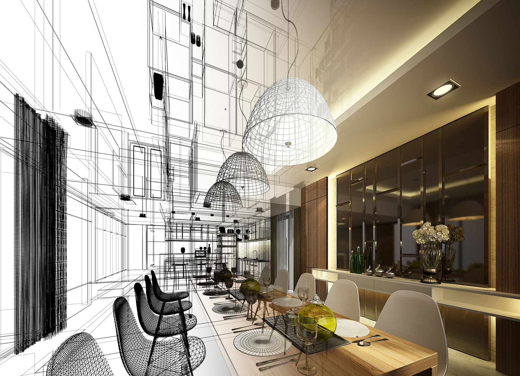 Stylish dining room. Concept drawing & completed design.