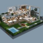 3D cutaway model of spacious modern house