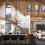 Spacious living area in mountain lodge