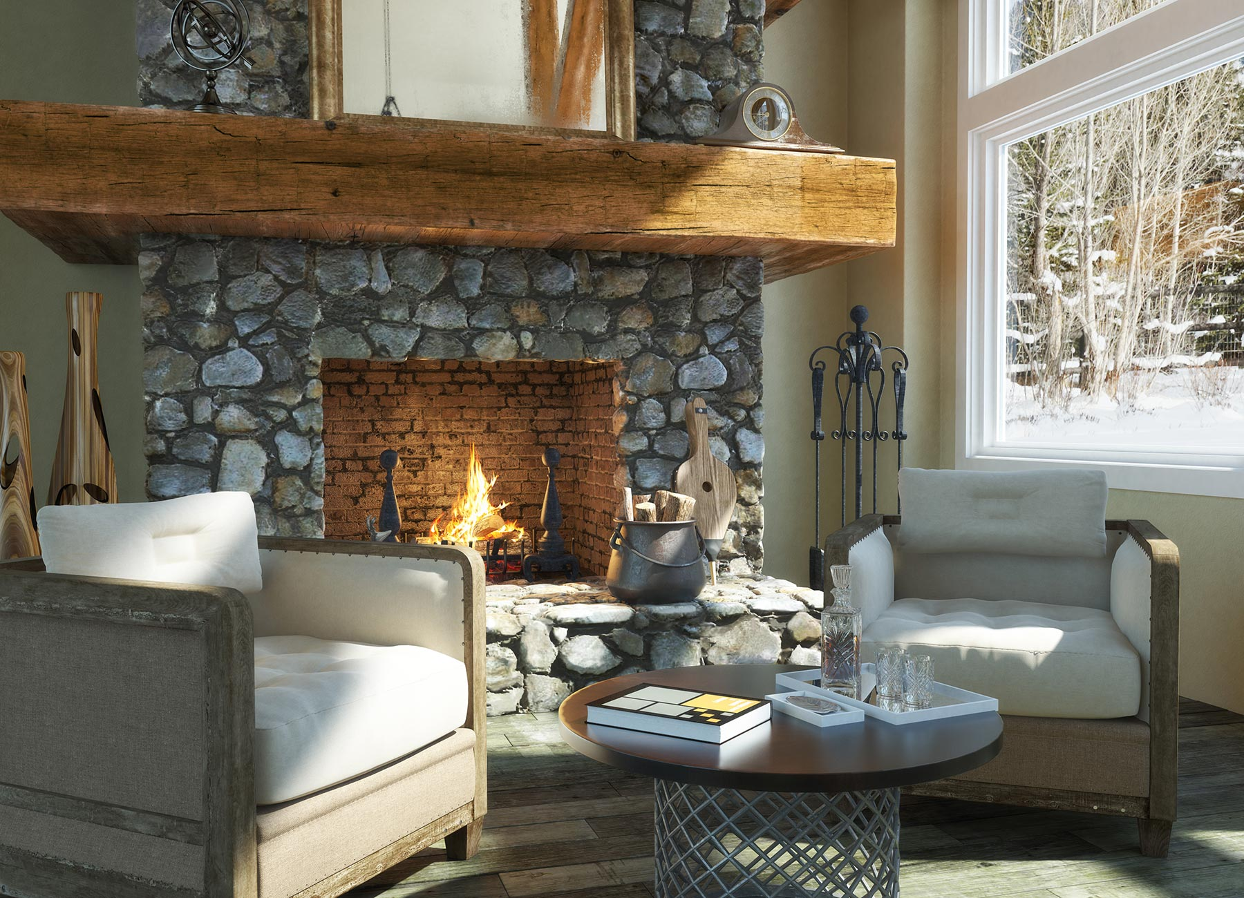 Roaring log fire in stone fireplace